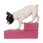 Pink Leather Folding Pet Stairs