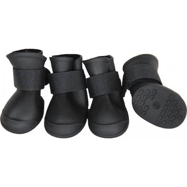 Elastic Protective Multi-Usage All-Terrain Black Rubberized Dog Shoes