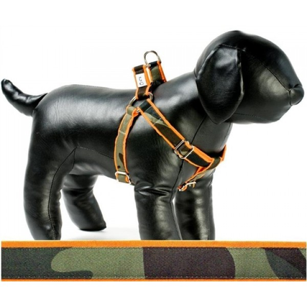 Camo on Orange Adjustable Step-in Dog Harness