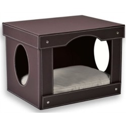 Decorative Cat Hut Bed - Brown Faux Leather exterior