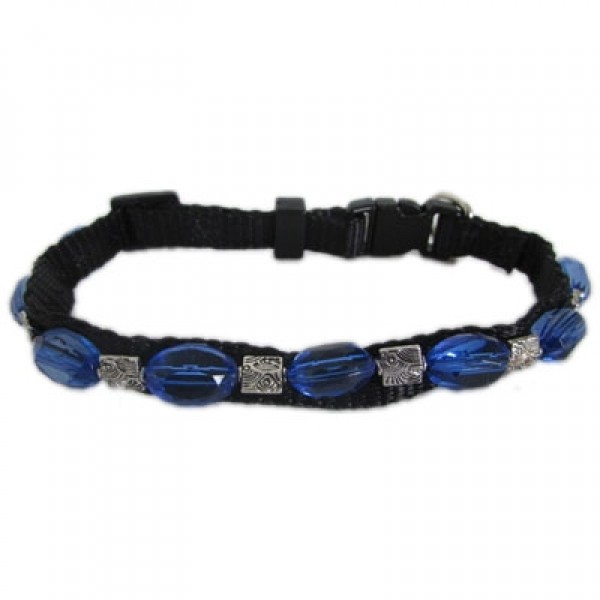 Black Nylon Jeweled Collar - Clear Dark Blue Stones with Silver Spacers