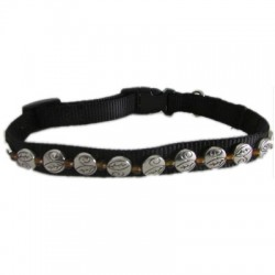 Black Nylon Jeweled Collar - Silver Beads with Amber Spacers
